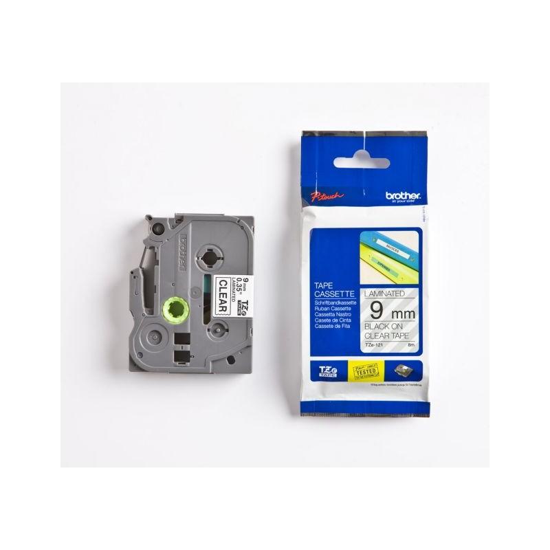 Cassette à ruban pour étiqueteuse TZe-121 Brother originale – Transparent, 9 mm de large
