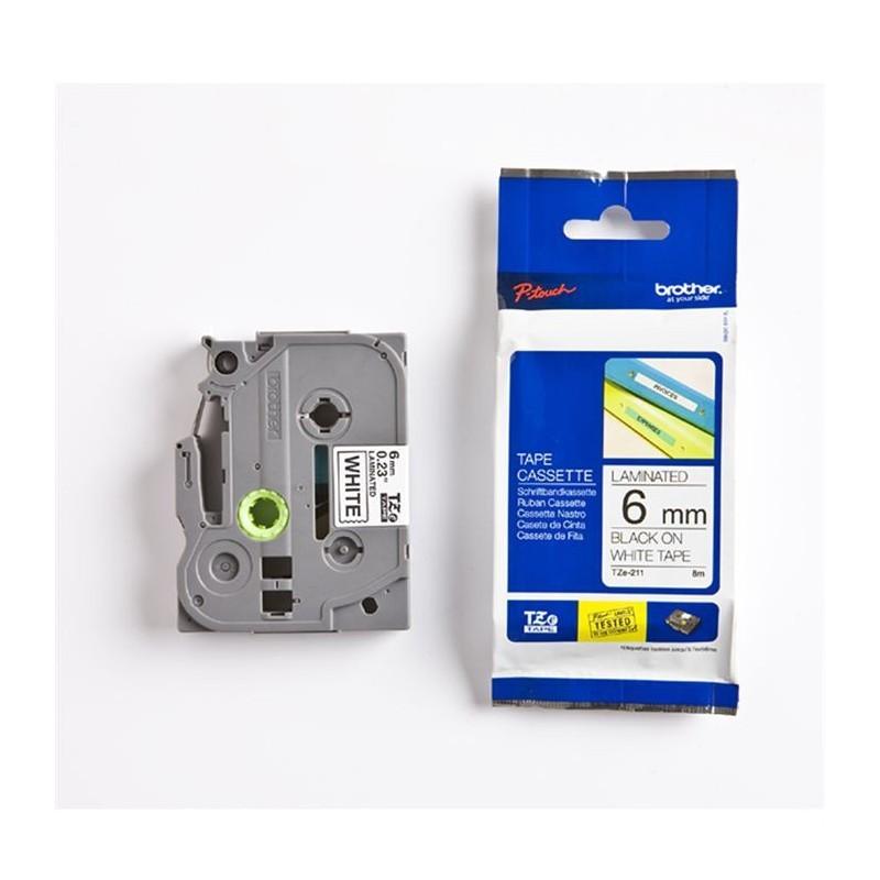 Cassette à ruban pour étiqueteuse TX-211 Brother originale – Noir sur blanc, 6 mm de large