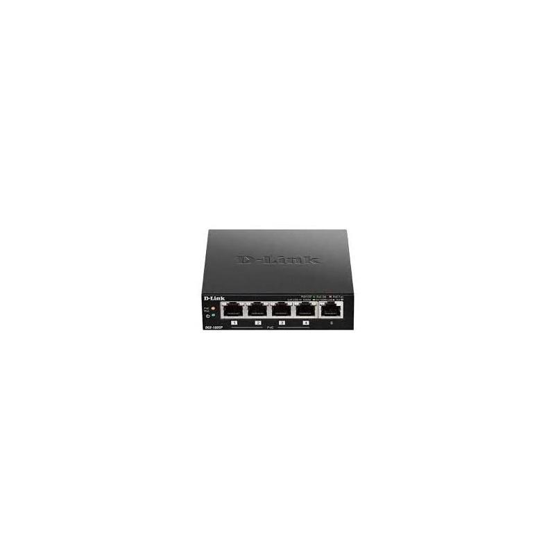 D-Link DGS-1005P Switch 5 Ports Gigabit 10/100/1000mbps avec POE- Idéal Partage de Connexion et Mise en Réseau Small/Home Office